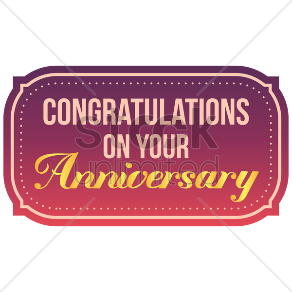 congratulations on your anniversary label vector graphic