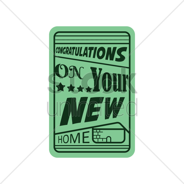 congratulations on your new home vector graphic