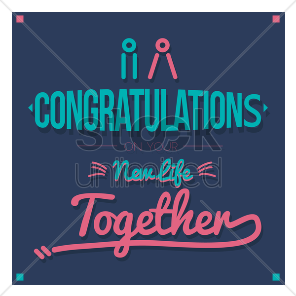 congratulations on your new life together vector graphic