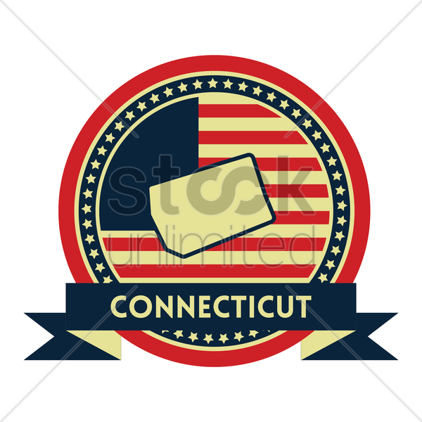 Free connecticut map label vector graphic