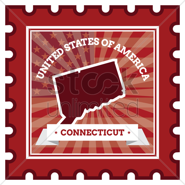 connecticut postage stamp vector graphic
