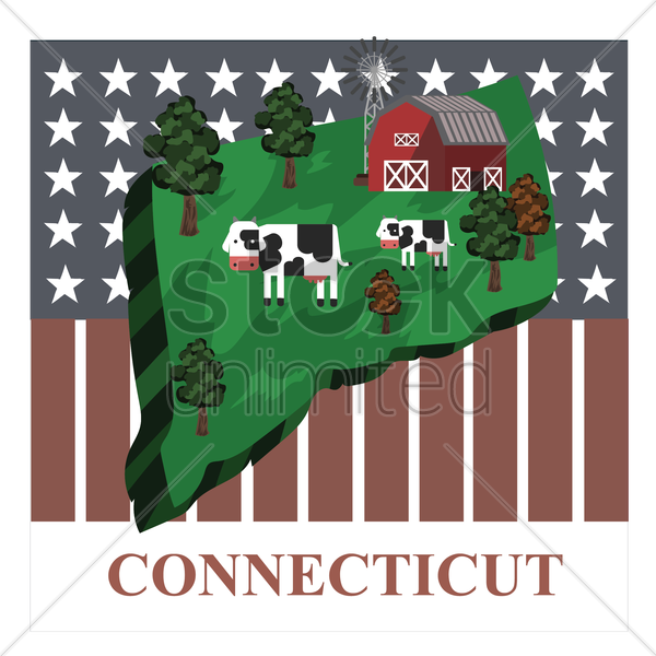 connecticut state map vector graphic