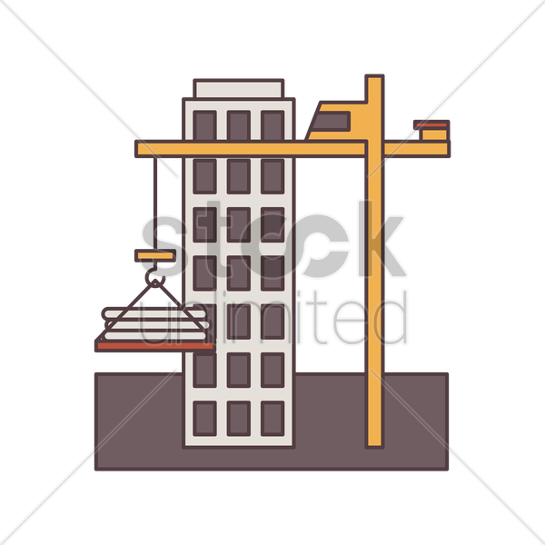 construction building and tower crane vector graphic