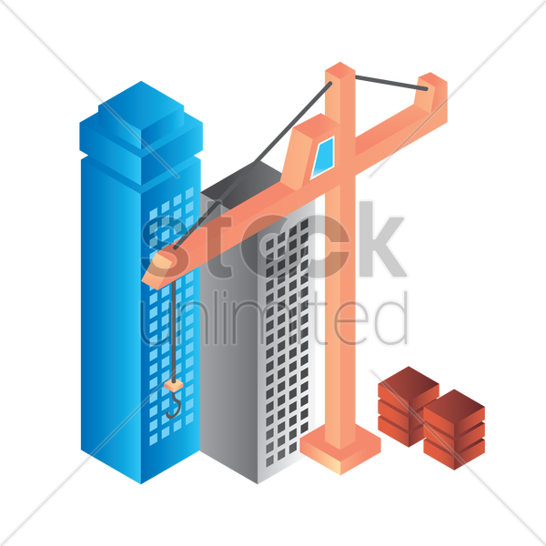 construction buildings and tower crane vector graphic