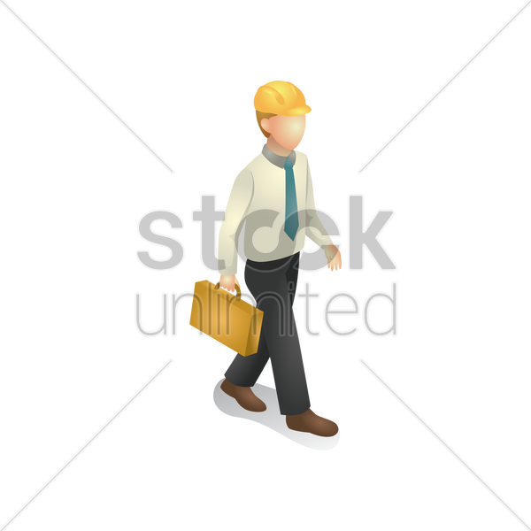 construction engineer holding briefcase vector graphic