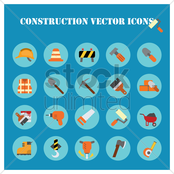 construction icons collection vector graphic