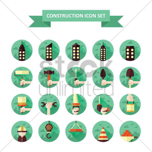 construction icons set vector graphic