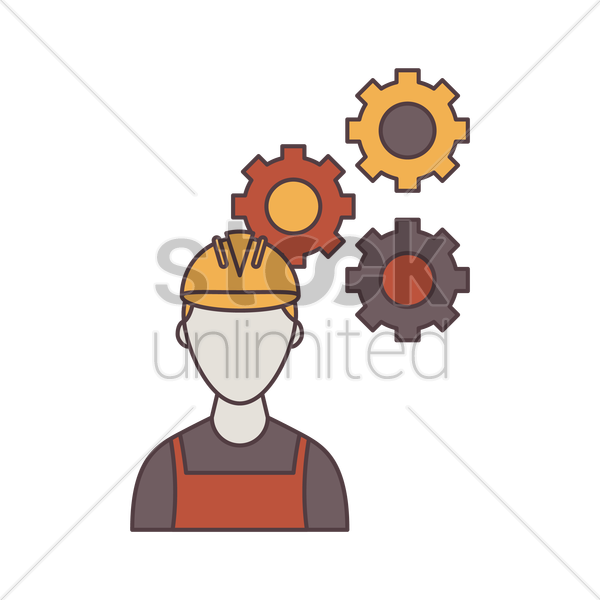 construction worker and gears vector graphic