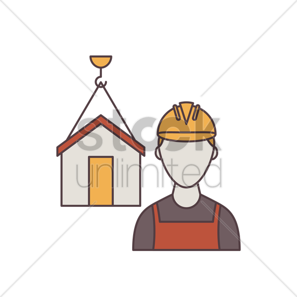 construction worker and home vector graphic