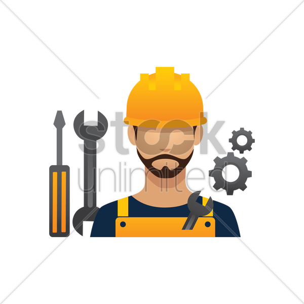 construction worker and tools vector graphic