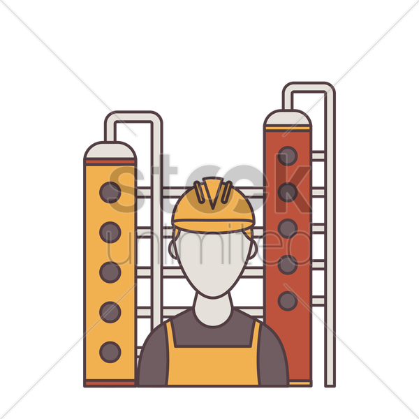 construction worker at industrial plant vector graphic
