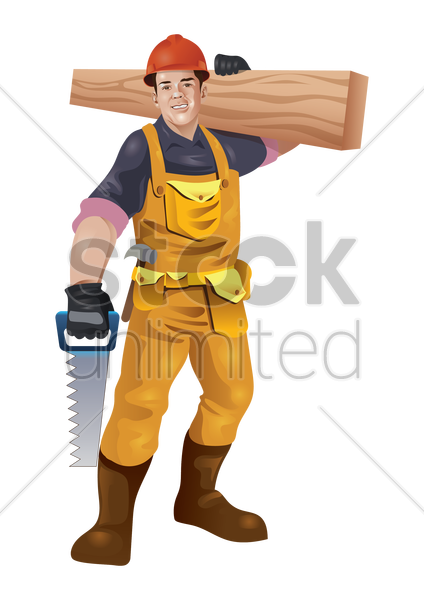 construction worker carrying wood plank and saw vector graphic
