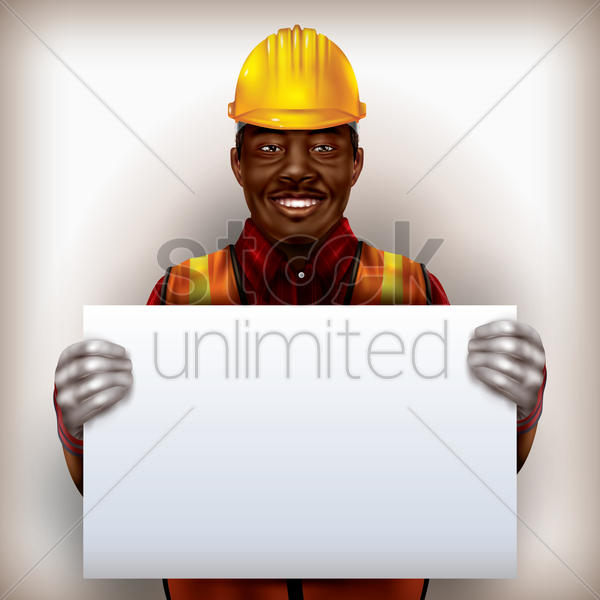 construction worker holding placard vector graphic