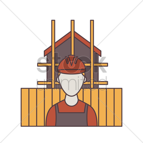 construction worker in front of house vector graphic