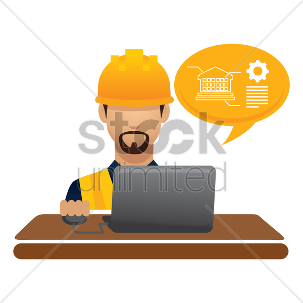 construction worker on laptop vector graphic