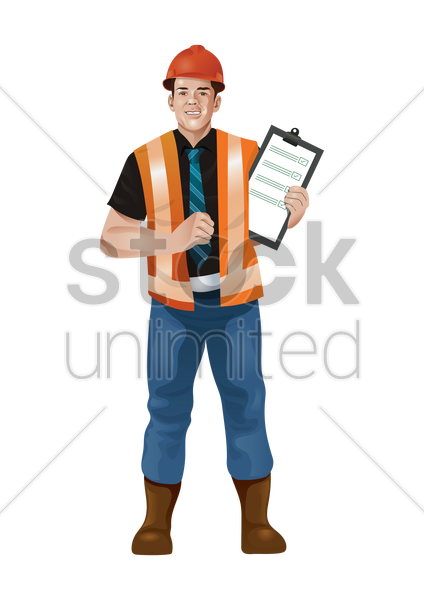 construction worker with data in hand vector graphic