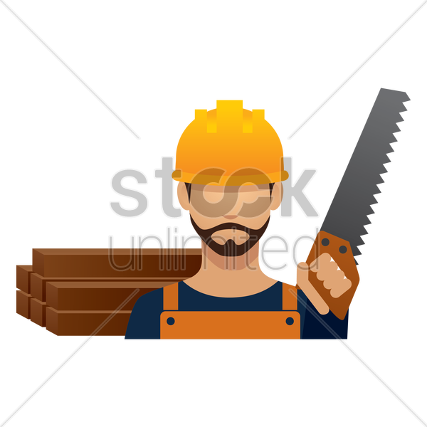 construction worker with hand saw vector graphic