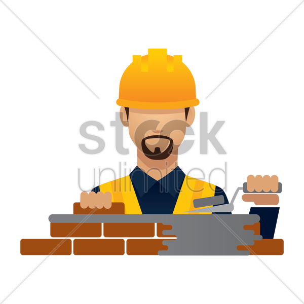 construction worker with laying bricks vector graphic
