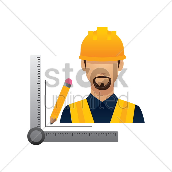 construction worker with pencil and triangle ruler vector graphic
