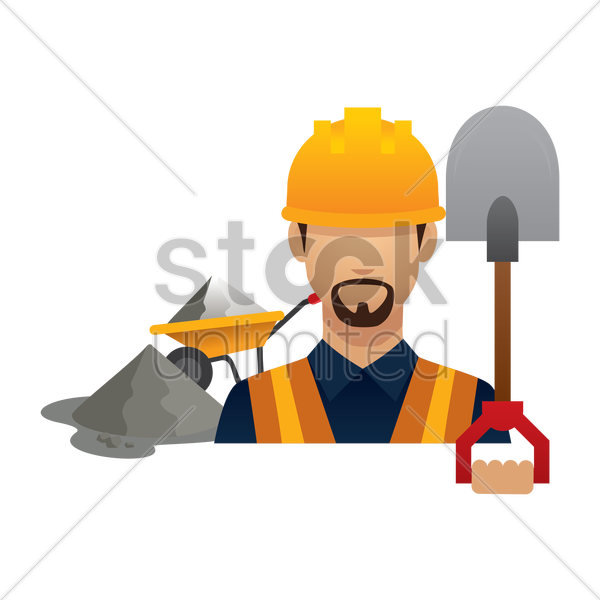 construction worker with shovel vector graphic