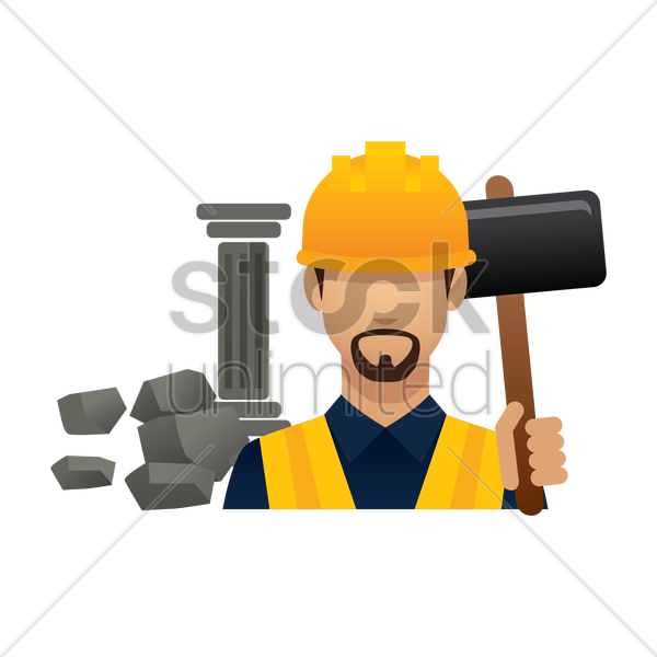 construction worker with sledgehammer vector graphic