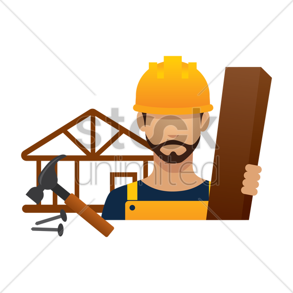 construction worker with wood and tools vector graphic