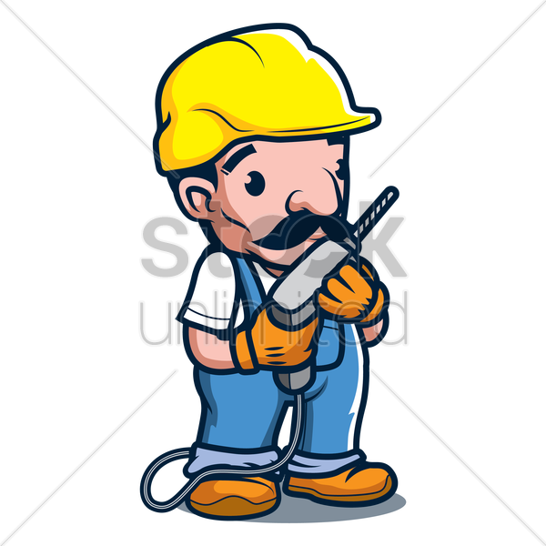 constructor holding hand drilling machine vector graphic