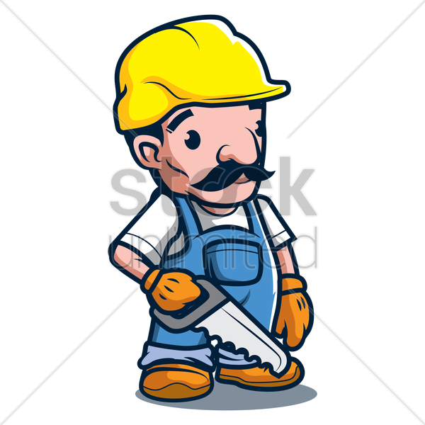 constructor holding hand saw vector graphic
