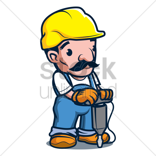 constructor holding jackhammer vector graphic