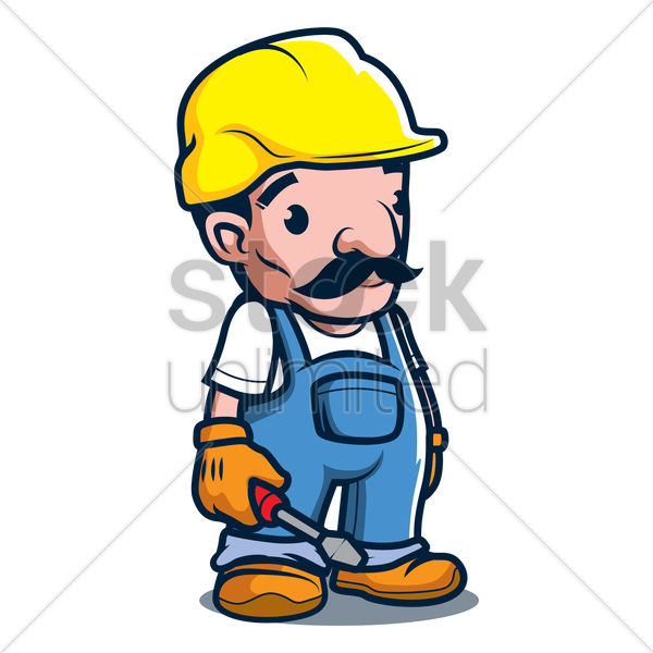 constructor holding screwdriver vector graphic