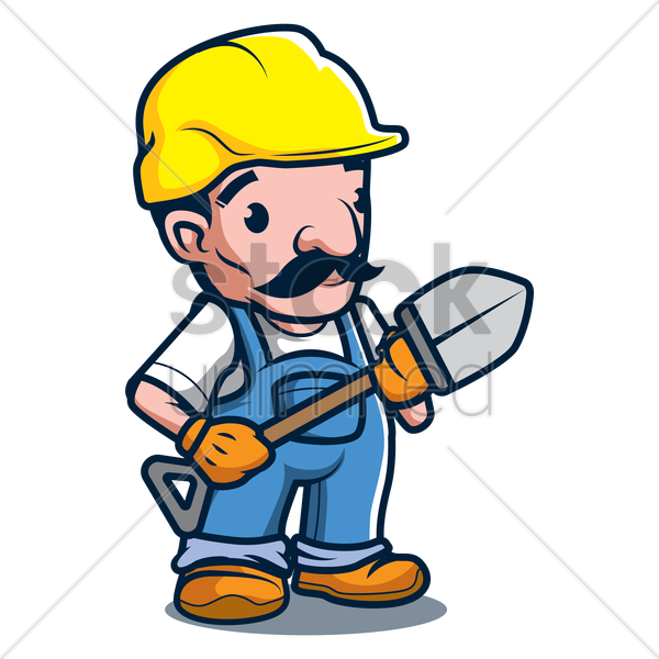 constructor holding shovel vector graphic