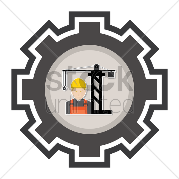 constructor work and tower crane vector graphic