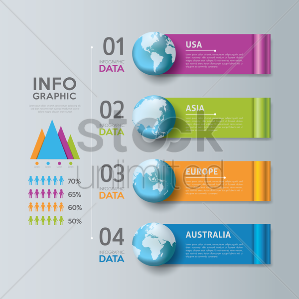 continents infographic background vector graphic
