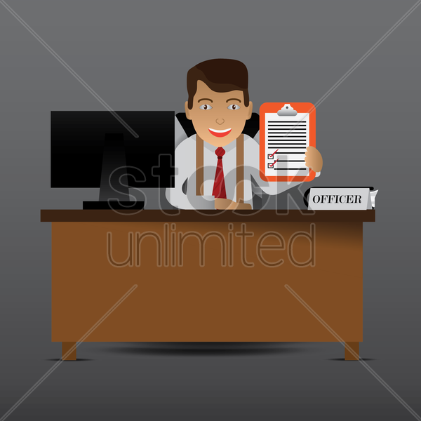corporate officer holding up a checkboard vector graphic