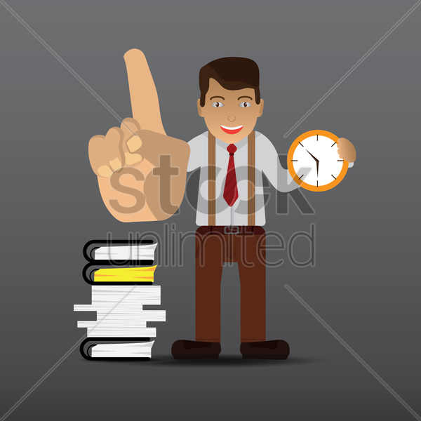corporate officer with workload and time concept vector graphic