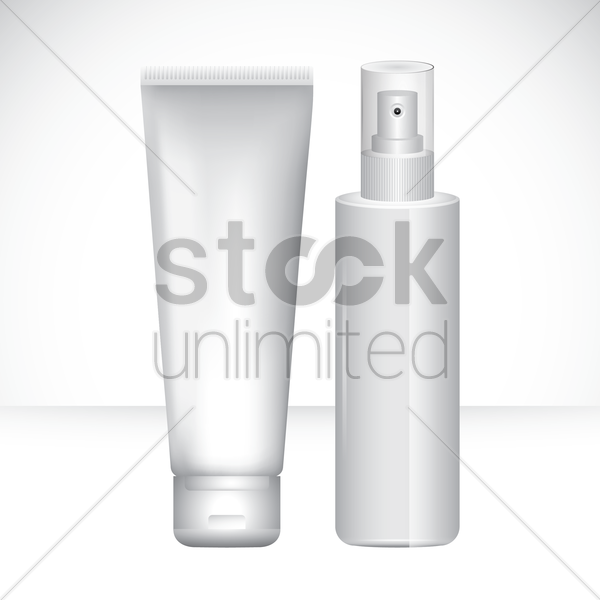 cosmetic tube and bottle vector graphic