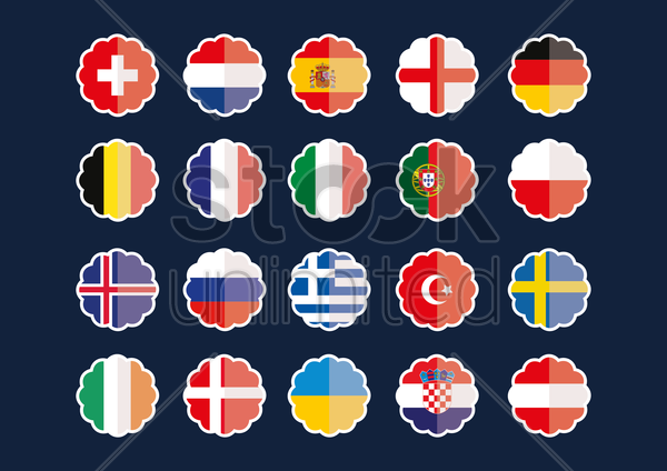 country flag stickers vector graphic