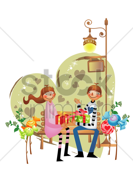 couple exchanging gifts vector graphic
