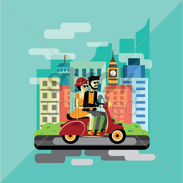 couple on scooter vector graphic