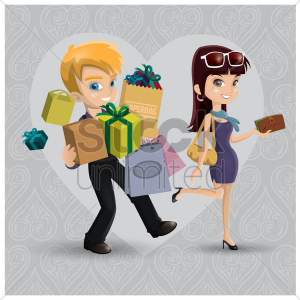 couple shopping vector graphic