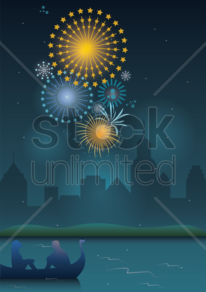 couple sitting on a boat and watching fireworks vector graphic