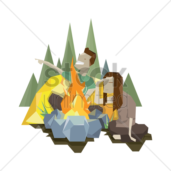 couple with campfire vector graphic
