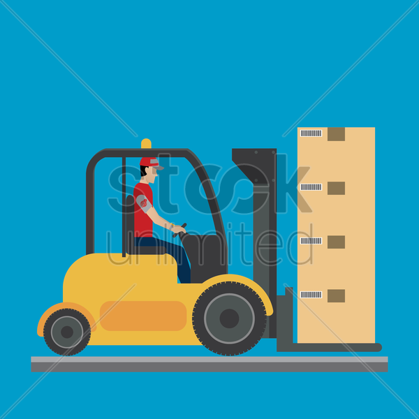 courier man handling the boxes with a forklift vector graphic
