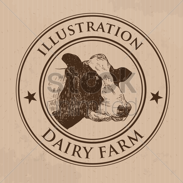 cow label vector graphic