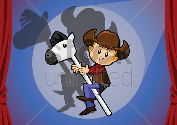 Free cowboy on a toy horse vector graphic