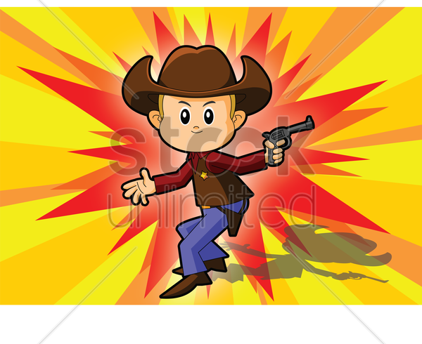 cowboy over a explosion background vector graphic
