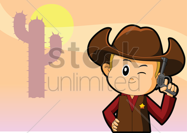 cowboy over a sunset background vector graphic