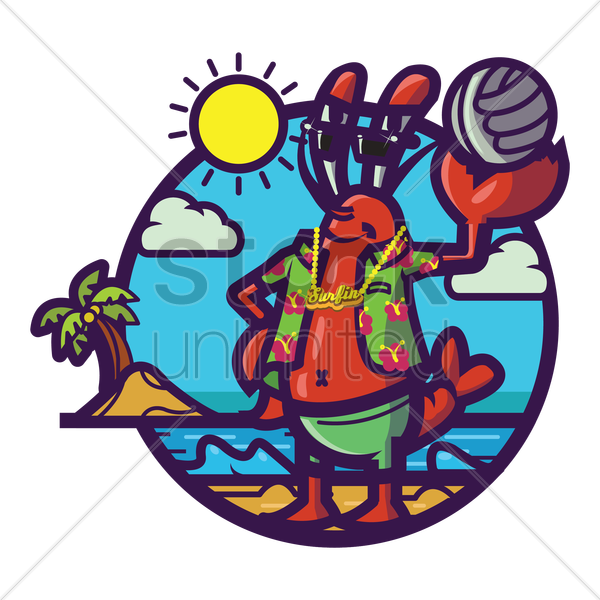 crab chilling at beach vector graphic