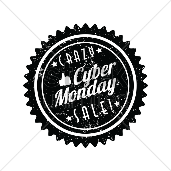 crazy cyber monday sale label vector graphic