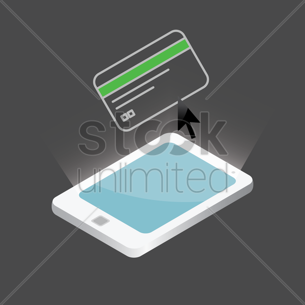 credit card on smartphone vector graphic